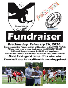 Support CRLS RUGBY with An Evening Out at Friendly Toast (Kendall Square) @ Friendly Toast